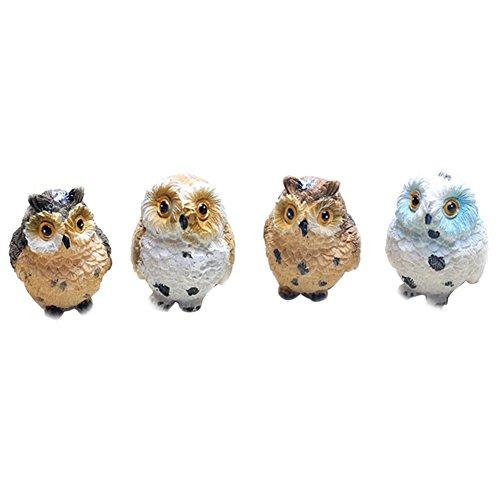 [4pcs Cute Animal Resin Owls Miniatures Figurine Craft Bonsai Pots Home Fairy Garden Ornament Decoration Moss Terrarium] (Cute Halloween Decorated Cupcakes)