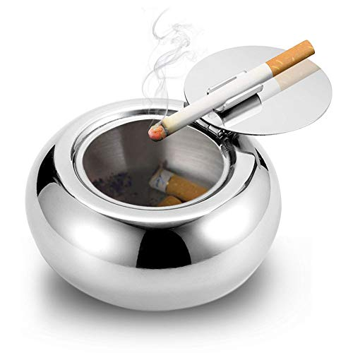 AODOOR Windproof Ashtray with Lid, Cigarette Ashtray for Outdoor or Indoor Use, Modern Flip Top Stainless Steel Ashtray for Smokers, Suitable for Tabletop, Patio & Home Decoration
