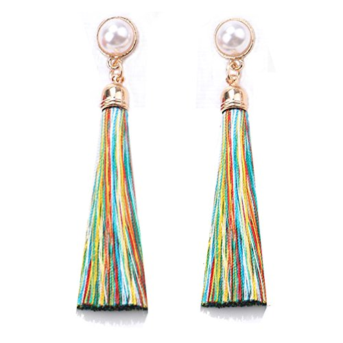 Women Colorful Thread Tassel Earrings with Pearl Drop Earrings Dangle (Multicolor)