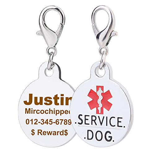 service dog engraved round id tag - 6
