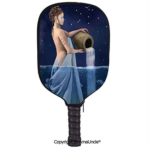 - SCOXIXI Neoprene Sports Pickleball Paddle Cover Sleeve,Personalized Aquarius Lady with Pail in The Sea Water Signs Saturn Mystry at Night Stars DecorativeRacquet Cover,Lightweight,Durable and Portabl