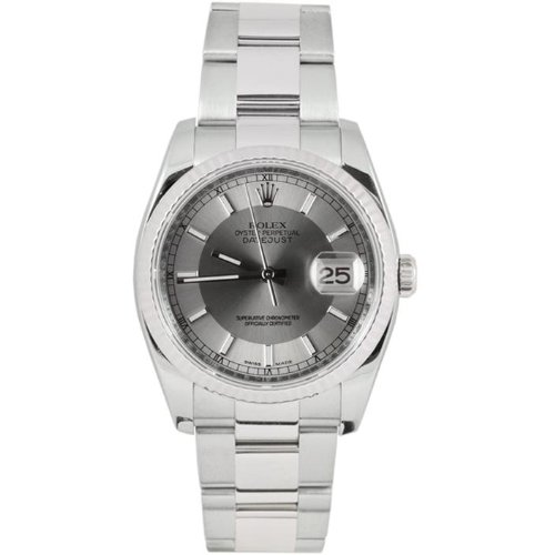 Rolex Mens New Style Heavy Band Stainless Steel Datejust Model 116234 Oyster Band 18K White Gold Fluted Bezel Silver/Slate Stick Dial (Rolex Stainless Steel Band compare prices)