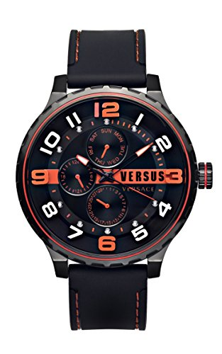 Versus by Versace Men's 'Globe' Quartz Stainless Steel and Rubber Casual Watch, Color:Black (Model: SBA090015)