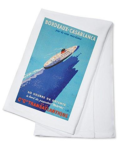 Bordeaux - Casablanca Vintage Poster (artist: Collin) France (100% Cotton Absorbent Kitchen Towel) (Towel Bordeaux Bar)