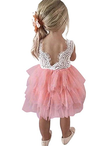 NNJXD Toddler Girls Lace Back Tutu Tulle Flower Party Dress Size (120) 4-5 Years Pink ()