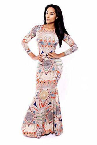 Maxi Dress Multicolore Gonna Lunghe Maniche A Stampa Sirena Con 7rwnw0zx68