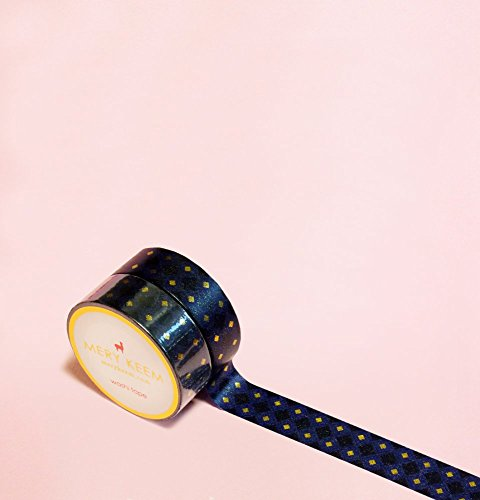Dark Navy Blue with Diamonds in Gold Foil Washi Tape for Planning • Scrapbooking • Arts Crafts • Office • Party Supplies • Gift Wrapping • Colorful De…