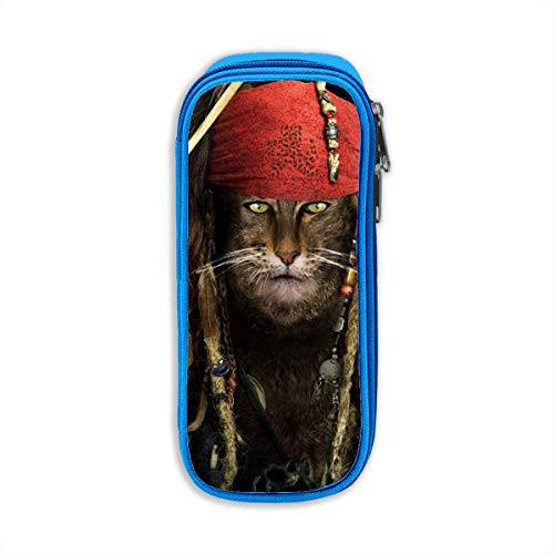 Funny Cat Captain Jack Sparrow Students Pen Case with Double Zippers Large Capacity Pouch Stationary Case for Watercolor Pencils ()