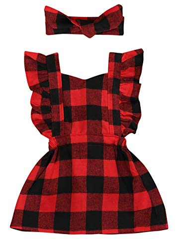 Toddler Kids Baby Girl Ruffle Sleeveless Cotton Plaids Casual Dresses (Red, 2-3 Years)]()