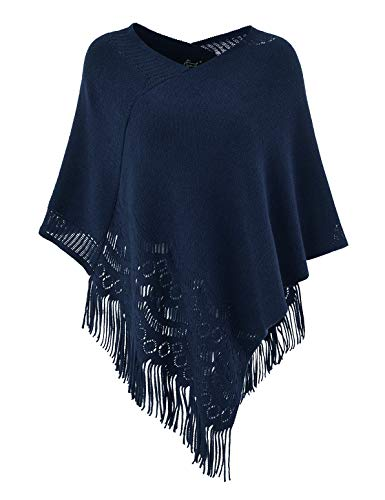Ferand Womens Crochet Soft Fringe Poncho Pullover Sweater in Multi-Way Neck Style