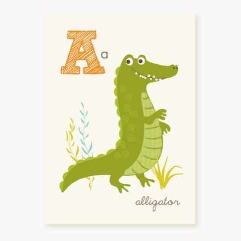 Sea Urchin Studio ABC Wall Art for Kids, (Kid Art Alligator)