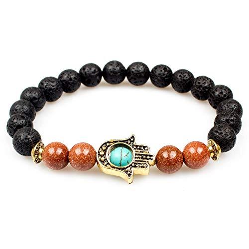 - PWMEN Mens Bracelet,Jewelry 8MM Antique Golden Hamsa Hand Lava Stone Beaded Stretch Bracelet(Hamsa Hand Goldstone)