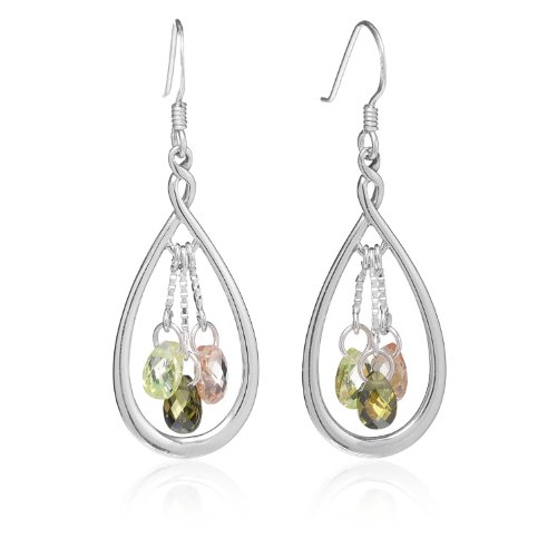 925 Sterling Silver Pastel Pink Green Crystal Tear Drop Oval Dangle Earrings