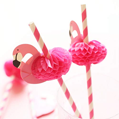 (Flamingo Paper Straw Decorations - Drinking Straws Decorative For Party Table Decor, 40 Count)