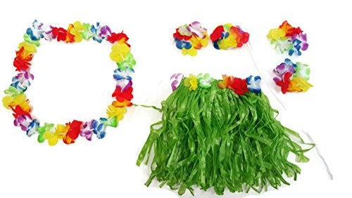 Playscene Hawaiian Summer Luau Party Child Hula Skirt Kit (5 Piece Kit) by (Child Hula Skirt Kit) -