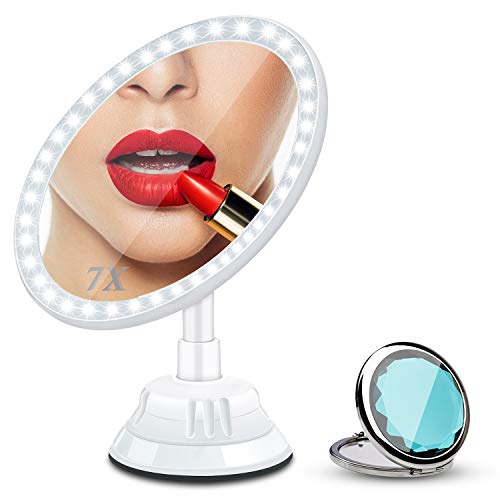 7X Magnifying Lighted Vanity Makeup Mirror with 30 LEDs Natural White Bathroom Vanity Mirror, 2500 MhA Rechargeable Wireless & Compact Travel Mirror - 360 Degree Swivel Rotation and Locking Suction