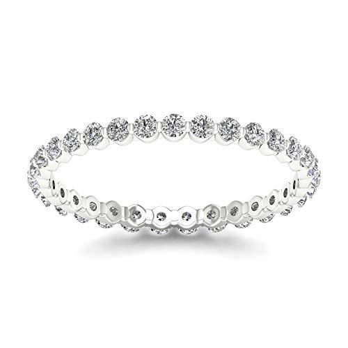 - De Couer IGI Certified 14k White Gold 1/2ct TDW Diamond Eternity Wedding Band (HI-I2) (7)