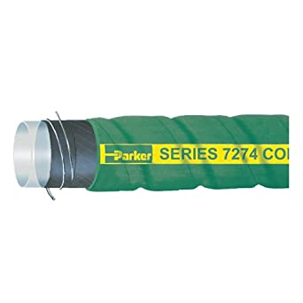 1.50 ID Green Parker Hannifin 7274-1502 XLPE Poly-Chem XLPE Corrugated Chemical Hose 2.000 OD 100 Length