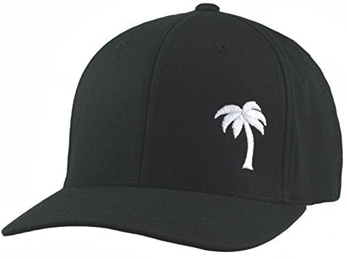 Lindo Flexfit Hat - Palm Tree Series Black w/White - (Flexi Cap)