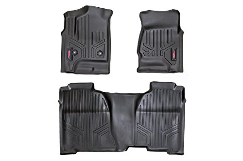 Rough Country - M-21413 - Heavy Duty Floor Mats - Front & Rear Combo (Crew Cab Models) for Chevrolet: 14-18 Silverado 1500 4WD/2WD, 14-18 Silverado 2500 HD 4WD/2WD, 14-18 Silverado 3500 HD 4WD/2WD;...