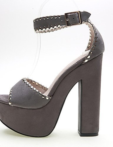 ShangYi Women's Shoes Velvet Chunky Heel Heels / Platform Sandals Party & Evening / Dress / Casual Black / Red / Gray / Almond Grey Xi0cbqc