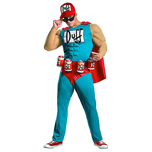 Simpsons Duffman Men's Muscle Chest Beer Can Holder Belt Costume (2XL) - Simpsons Duffman Classic Muscle Adult Mens Costumes
