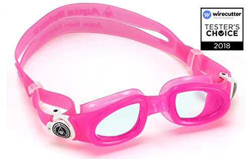 (Aqua Sphere Moby Junior Swim Goggles with Clear Lens (Pink/White). UV Protection Anti-Fog Swimming Goggles for Kids)