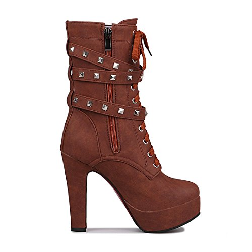 Odetina Boots Brown Mid Punk Synthetic Women's Heel Calf Rivet With High Platform r8qrwR