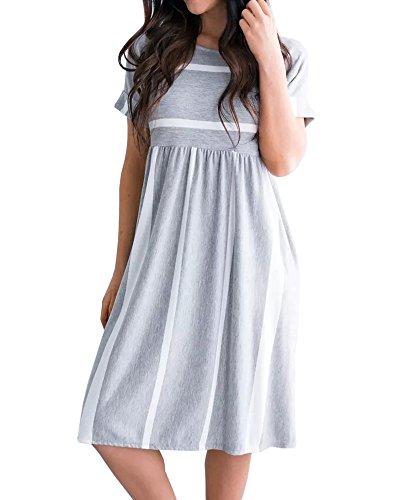 Foshow Womens Short Sleeve Dresses Striped Midi Empire Waist Summer Beach Dress with Pockets