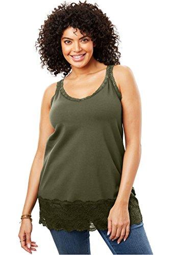 Women's Plus Size Lace V-Neck Tank Dark Olive Green,18/20 - Dash Tank