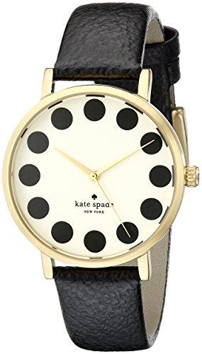 - kate spade new york Women's 1YRU0107 Black Dot Metro Watch With Black Leather Band