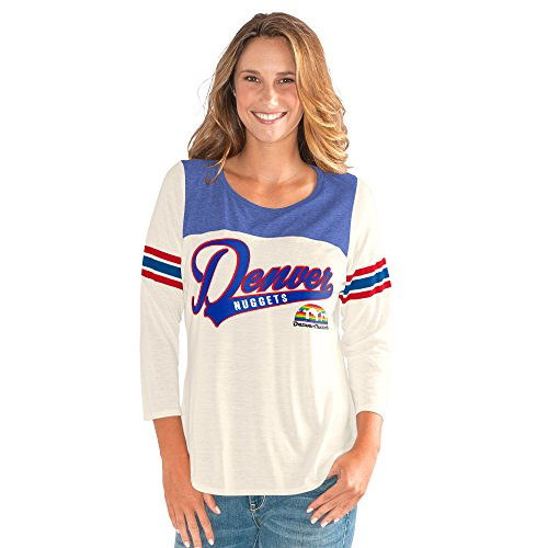 GIII For Her NBA Denver Nuggets Women's End Zone 3/4 Sleeve Tee, XX-Large, Vintage White