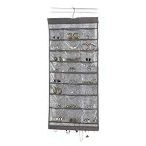 Whitmor Hanging Jewelry Organizer File Crosshatch Gray