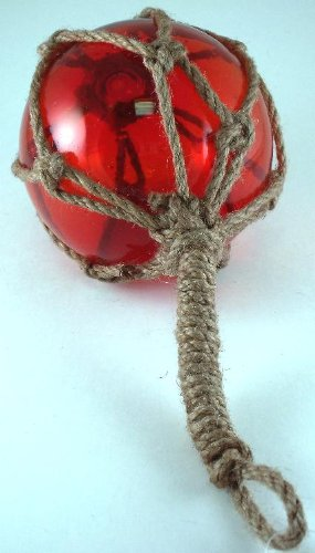 Christmas Tablescape Decor - Red Japanese glass fishing floats fish net buoys tabletop décor by Mary B Decorative Art MB