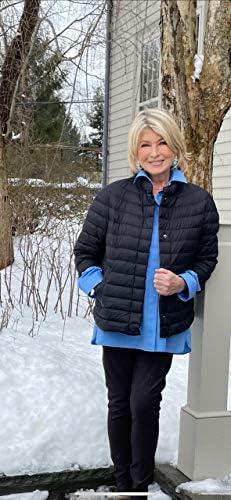 Martha Stewart Women's 3/4 Sleeve Quilted Packable Down Jacket – Lightweight Cute Coats For Women