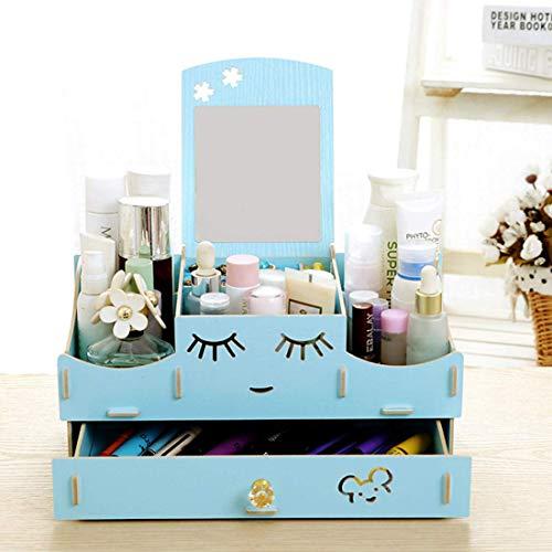- QIAOQ Women Cosmetics Storage Box Mirror Drawer Desktop Wooden Handmade DIY,Blue