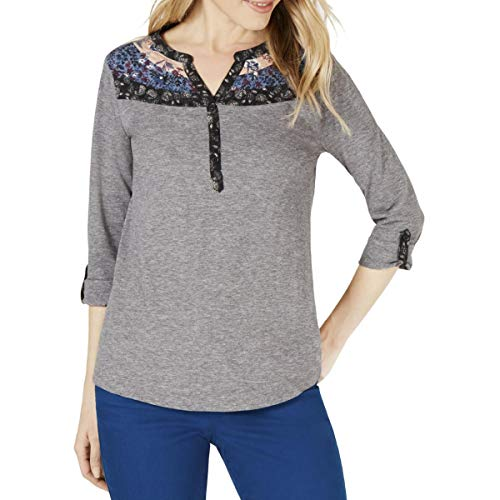 Style & Co. Womens Petites Printed Heathered Henley Top Gray PS
