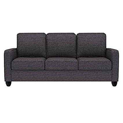 Sofas Jute Fabric 3 Seater Sofa Grey Crystal Amazon In Home Kitchen