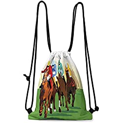 Hot Sale Portable Storage Bags Horse Decor,Colorful Competitive Scene with Jockeys and Racing Horses Equine Retro Artwork,Multicolor W13.8 x L17 Inch Underwear Organizer
