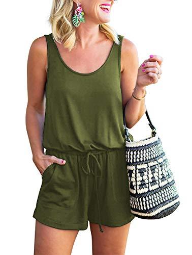 YIBOCK Women Summer Sleeveless Button Down Striped Short Jumpsuit Cami Romper