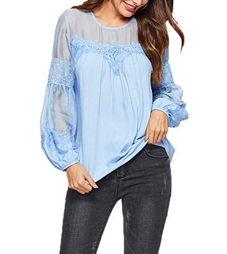 Manchon Printemps Lache Blouse Tulle pissure T et Hauts Tops Tees Shirts Lanterne Casual Femmes Rond JackenLOVE Automne Col Fashion Bleu FqSZwxfq