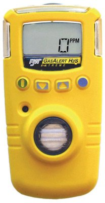 Sulfide Monitors Hydrogen (BW Technologies GAXT-H-2-DL GasAlert Extreme High Range Hydrogen Sulfide (H2S) Single Gas Detector, 0-500 ppm Measuring Range, Yellow)