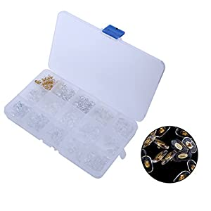 15 Style 150 Pairs Soft Silicone Nose Pads Eyeglasses Screw on Glasses Repair Tools with Storage Case