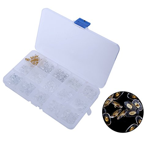 15 Style 150 Pairs Soft Silicone Nose Pads Eyeglasses Screw on Glasses Repair Tools with Storage - Style Eyeglass