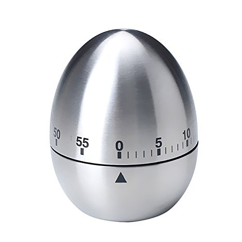 KIKIGOAL Egg Shaped Stainless Steel 60-Minute Kitchen Timer
