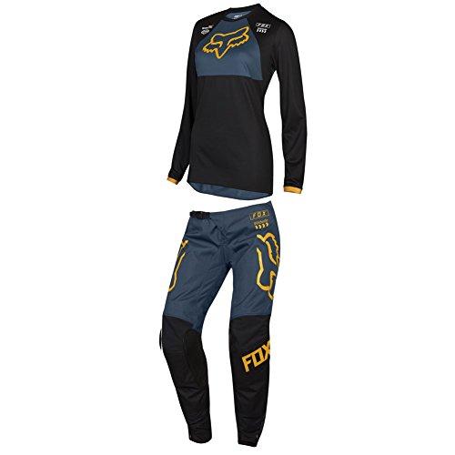 Womens Motocross Pants - Fox Racing 2019 Womens 180 MATA DRIP Jersey and Pants Combo Offroad Riding Gear Black/Navy Large Jersey/Pants 10W