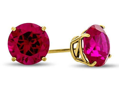 Finejewelers 10k Yellow Gold 7mm Round Created Ruby Post-With-Friction-Back Stud Earrings