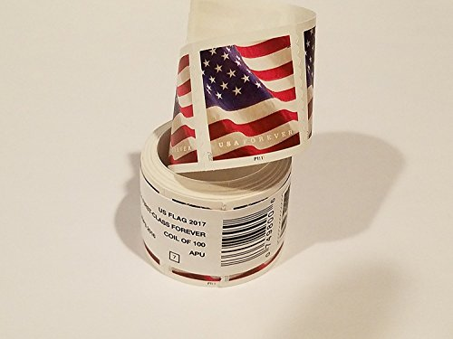 USPS Forever Stamps, Coil of 100 US Flag Postage Stamps (2016 or 2017 version)
