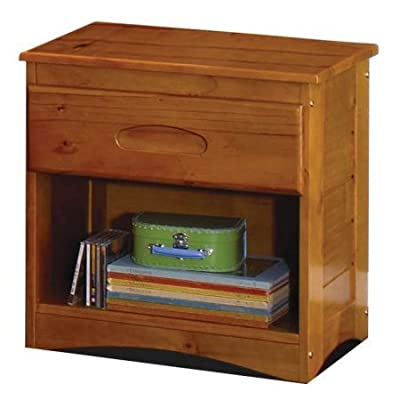 1 Drawer Nightstand with Unique Framed Detail on Sides and Beveled Top Made of Solid Wood in Honey Finish