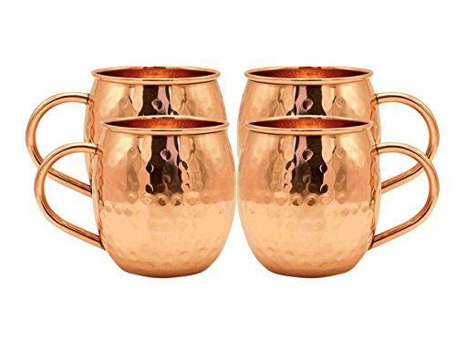 Kitchen Science Moscow Mule Hammered Copper 18 Ounce Drinking Mug, Set of 4